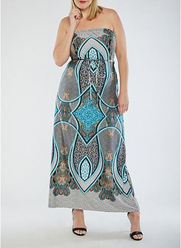 Plus Size Paisley Strapless Maxi Dress,TEAL,large