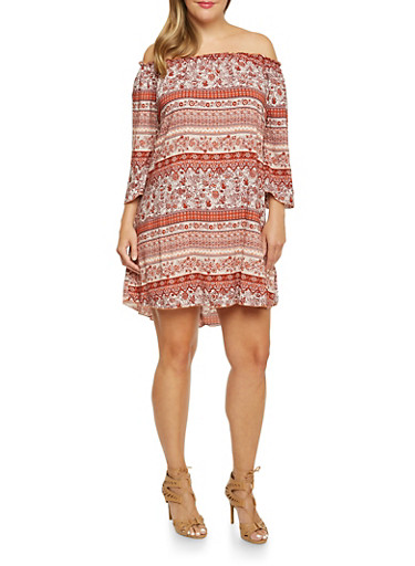 Plus Size Off the Shoulder Dress in Mixed Print,RUST,large