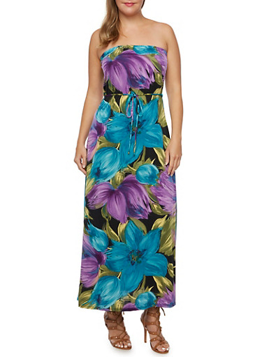 Plus Size Strapless Maxi Dress with Tropical Print,TEAL,large