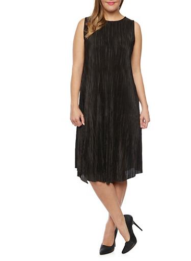 Plus Size Sleeveless Crinkle Shift Dress,BLACK,large