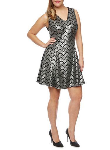 Plus Size Sleeveless Swing Dress in Chevron Print,SILVER,large