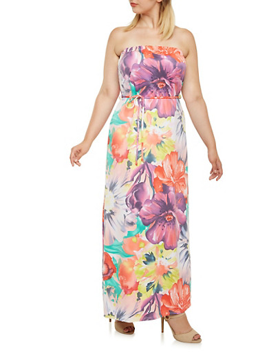 Plus Size Strapless Maxi Dress in Medallion Print,PEACH,large