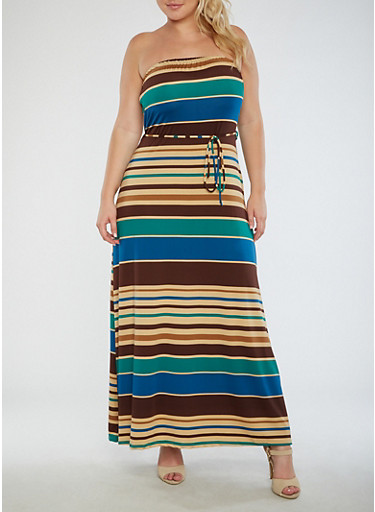 Plus Size Striped Strapless Maxi Dress,BROWN/TEAL,large