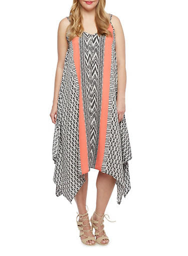 Plus Size Abstract Print Dress with Handkerchief Hem,CORAL,large