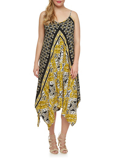 Plus Size Abstract Print Dress with Handkerchief Hem,YELLOW,large