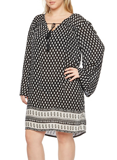 Plus Size Printed Dress with Tassel Tie Keyhole Cutout,BLACK,large