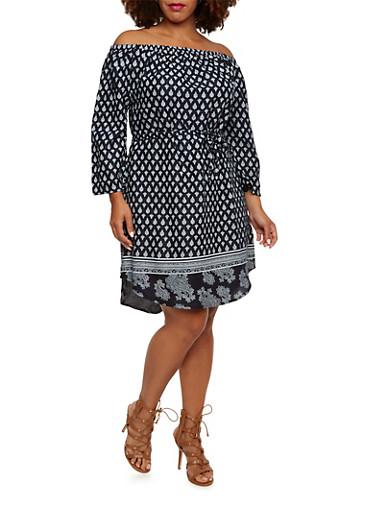 Plus Size Off-the-Shoulder Dress in Medallion Print,NAVY,large