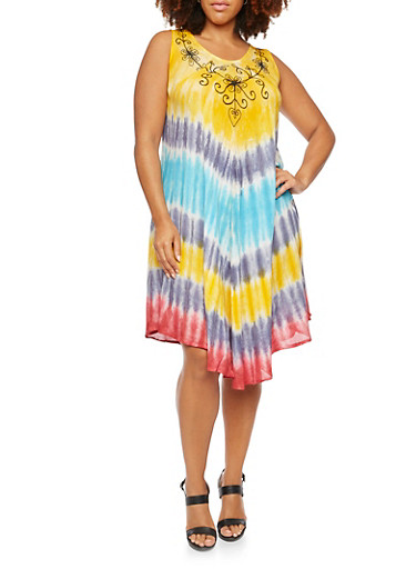 Plus Size Tie Dye Dress with Floral Stitched Neckline,YELLOW,large