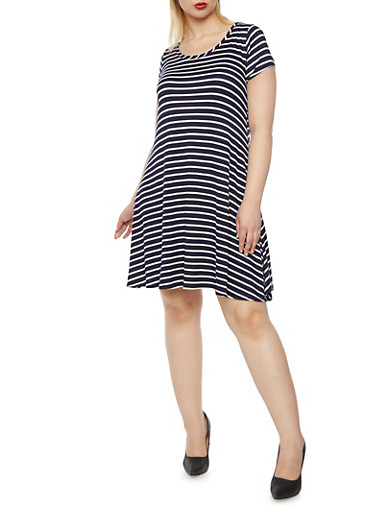 Plus Size Flared Dress with Stripes,NAVY,large