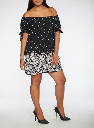 Plus Size Floral Print Off the Shoulder Dress,BLACK,large