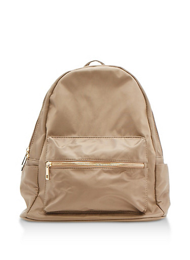 Nylon Backpack,KHAKI,large