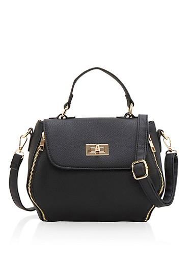 Small Crossbody Satchel with Metal Accents,BLACK,large