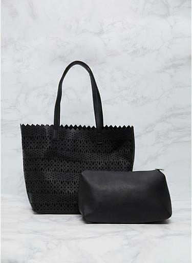 2 Piece Laser Cut Tote Bag,BLACK,large