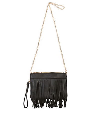 Double Zip Fringe Crossbody Bag,BLACK,large