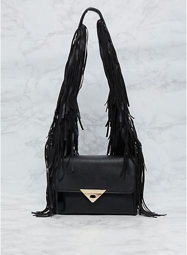Faux Leather Fringe Shoulder Bag,BLACK,large