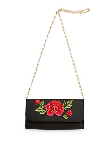 Rose Embroidered Chained Clutch,BLACK/RED,large