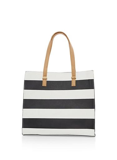 Large Wide Stripes Tote Bag,BLACK/WHITE,large