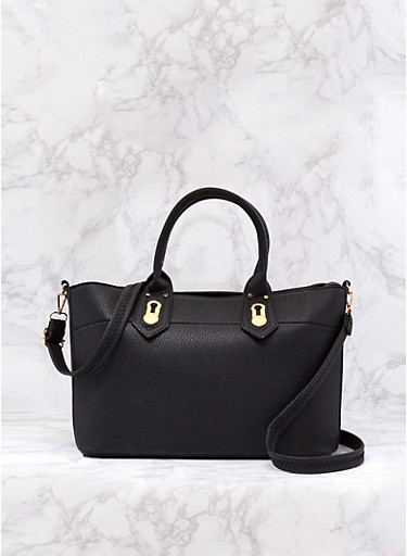 Faux Leather Satchel Bag with Removable Strap,BLACK,large