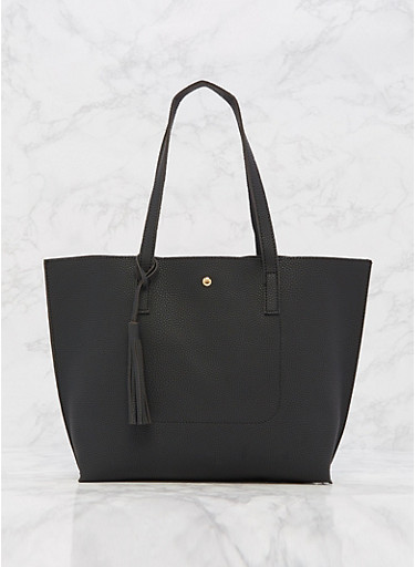 Soft Textured Faux Leather Tote Bag,BLACK,large