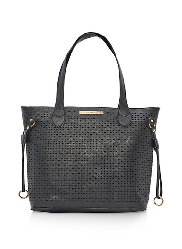 Perforated Faux Leather Tote Bag,BLACK,large