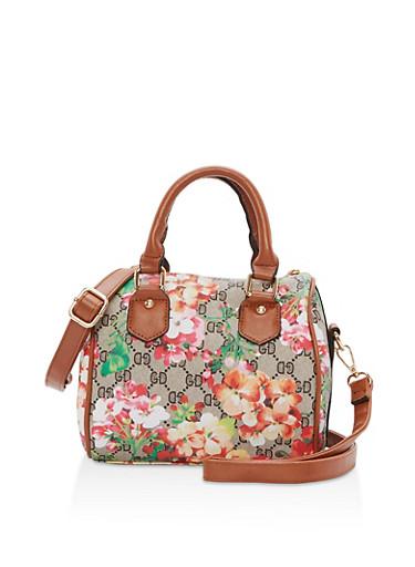 Small Floral Bowler Bag,COGNAC,large