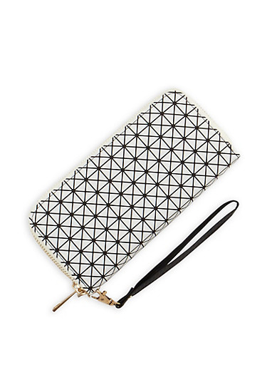 Faux Leather Double Zip Printed Wallet,WHT-BLK,large