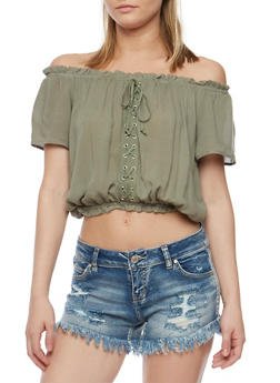 Off the Shoulder Lace Up Peasant Top - OLIVE - 0001038348622