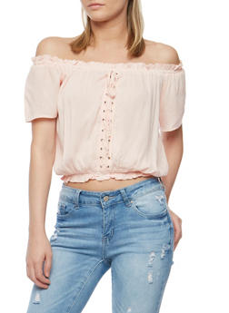 Off the Shoulder Lace Up Peasant Top - BLUSH - 0001038348622