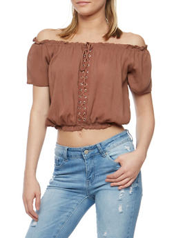 Off the Shoulder Lace Up Peasant Top - 0001038348622