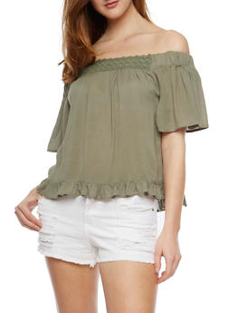 Off the Shoulder Peasant Top with Flounce Hem - OLIVE - 0001038348624