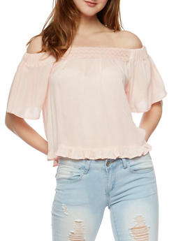 Off the Shoulder Peasant Top with Flounce Hem - BLUSH - 0001038348624