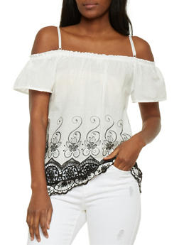 Off the Shoulder Embroidered Border Top - 0001058755831