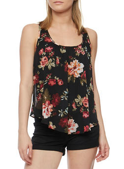 Floral Print Tank Top with Petal Hem Back - 0002054263007