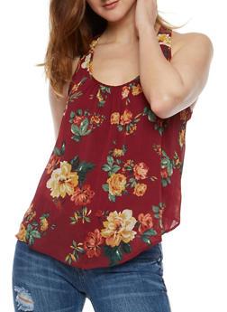 Floral Print Tank Top with Petal Hem Back - 0002054263007
