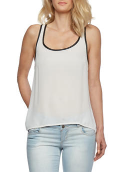 Chiffon Racerback Tank Top with Faux Leather Trim - 0002054263683