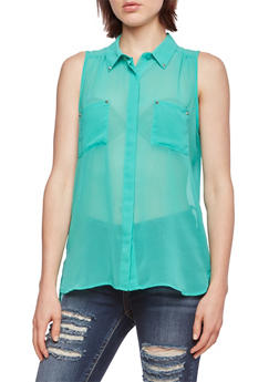 Semi-Sheer Blouse with Matte Spike Stud Accents - 0002054265527