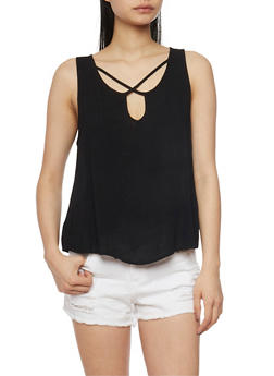 Sleeveless Caged Keyhole Neck Tank Top - 0002054269469