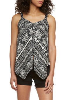 Elephant Print Tank Top with Handkerchief Hem - 0002070652413