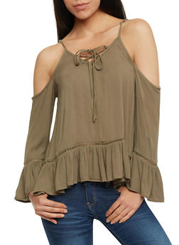 Gauze Knit Cold Shoulder Lace Up Top - OLIVE - 0004051068690