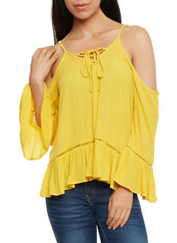 Gauze Knit Cold Shoulder Lace Up Top - MUSTARD - 0004051068690