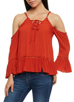 Gauze Knit Cold Shoulder Lace Up Top - 0004051068690