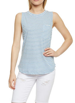 Striped Muscle Tank Top with Pocket - 0011054268573