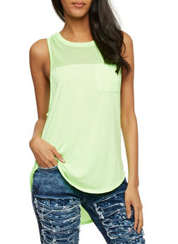 Mesh Yoke High Low Tank Top - 0011054268576