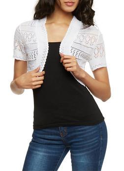Open Front Crochet Shrug Cardigan - WHITE - 0022072998100