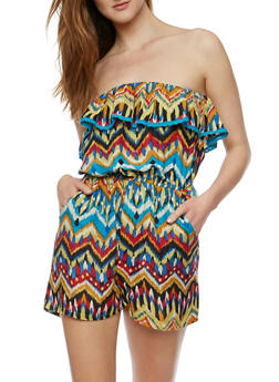 Strapless Printed Romper with Crochet Trim - MULTI COLOR - 0045038343355