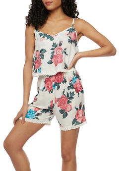 Sleeveless Floral Romper with Crochet Trim - IVORY - 0045038346350