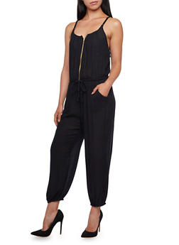 Cutout Back Jumpsuit with Zipper Front and Pockets - 0045038347317