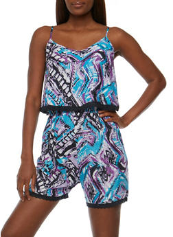 Printed V Neck Sleeveless Romper with Overlay - 0045038347350