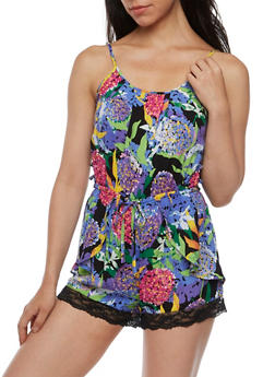 Sleeveless Printed Romper with Side Caging - 0045038347351