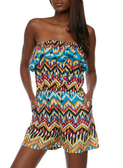 Strapless Printed Romper with Crochet Trim - 0045038347355